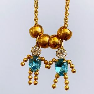Gold Blue Austrian Crystal Twin Charm Necklace